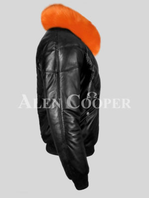 Men's super stylish and classy real black v bomber with orange detachable fur collar new side view