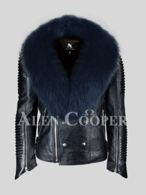 Men's super stylish and sturdy real leather black biker jacket with navy fox fur collar