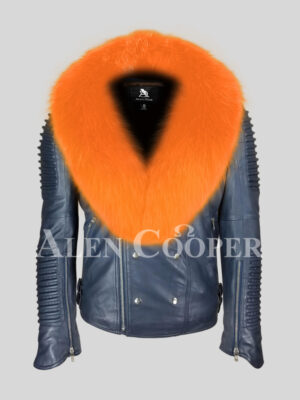 Men's super stylish and unique navy real leather biker jacket with bright orange fox fur collar