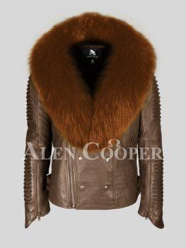 Men's super stylish coffee pure lamb skin biker jacket with tan fur collar