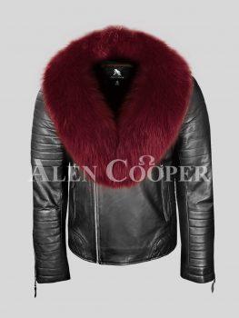 Men's super-stylish sturdy real leather black biker jacket with wine fox fur collar