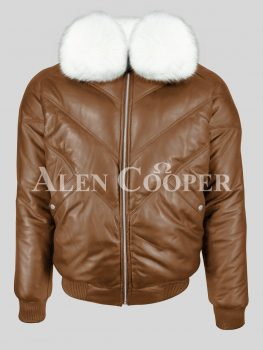 Men's super stylish warm leather v bomber vintage jacket with white crystal fur collar