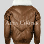 Men's super stylish warm leather v bomber vintage jacket with white crystal fur collar back side view