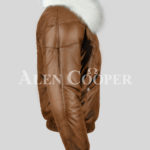 Men's super stylish warm leather v bomber vintage jacket with white crystal fur collar side view