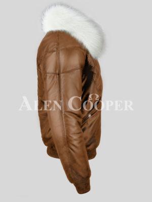 Men's super stylish warm leather v bomber vintage jacket with white crystal fur collar side view