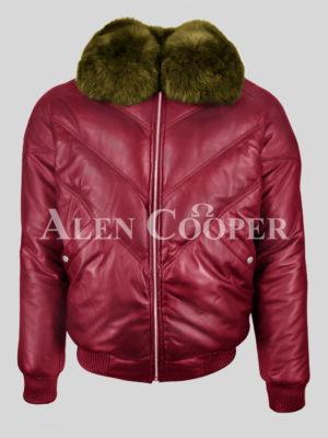 Men's super stylish wine v bomber vintage jacket with olive fox fur collar
