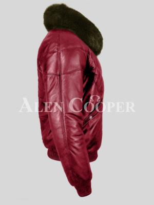 Men's super stylish wine v bomber vintage jacket with olive fox fur collar side view