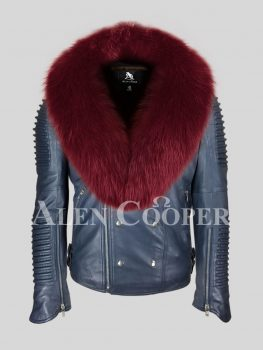 Men's super warm and iconic real leather biker jacket with wide wine fox fur collar