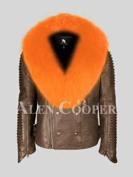 Men's unique and stylish coffee real leather biker jacket with bright orange fox fur collar