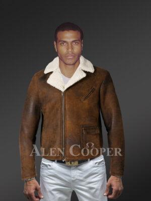 Men's vintage double face shearling super warm solid coat new