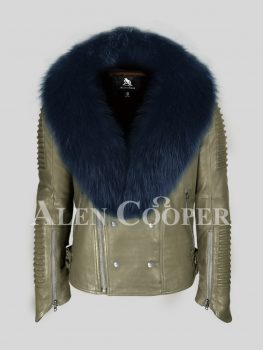 Men's vintage feel iconic olive real leather biker jacket with wide fox fur collar in navy