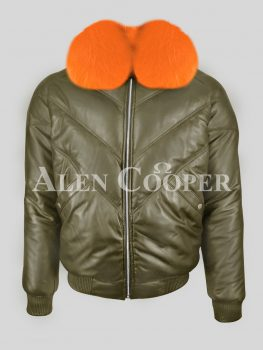 Men's vintage v bomber real leather jacket with bright orange real fox fur crystal collar New