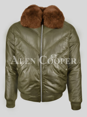 Men's warm and comfortable real leather v bomber jacket with tan fur collar