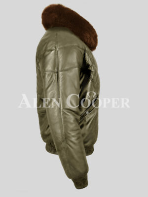 Men's warm and comfortable real leather v bomber jacket with tan fur collar side view