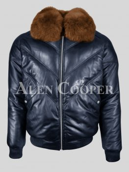 Men's warm and comfortable real leather v bomber winter jacket with tan fur collar