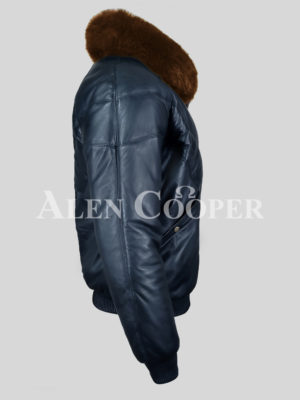 Men's warm and comfortable real leather v bomber winter jacket with tan fur collar side view