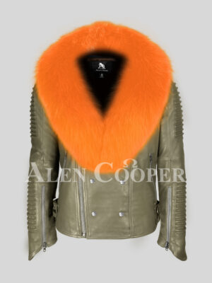 Men's warm and iconic 100% sheepskin leather jacket with bright orange fox fur collar