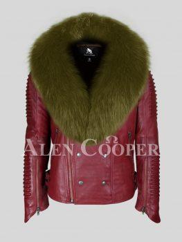 Men's warm winter mid-length real sheepskin biker jacket with rich olive fox fur collar
