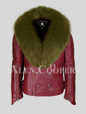 Men's warm winter mid-length real sheepskin biker jacket with rich olive fox fur collar