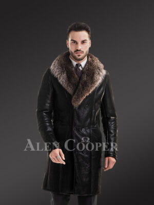Mens long and solid coal black natural fur lamb coat with rich raccoon fur collar new view