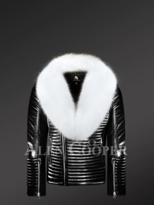 Men's stylish and sturdy black real leather jacket with white fox fur collar new