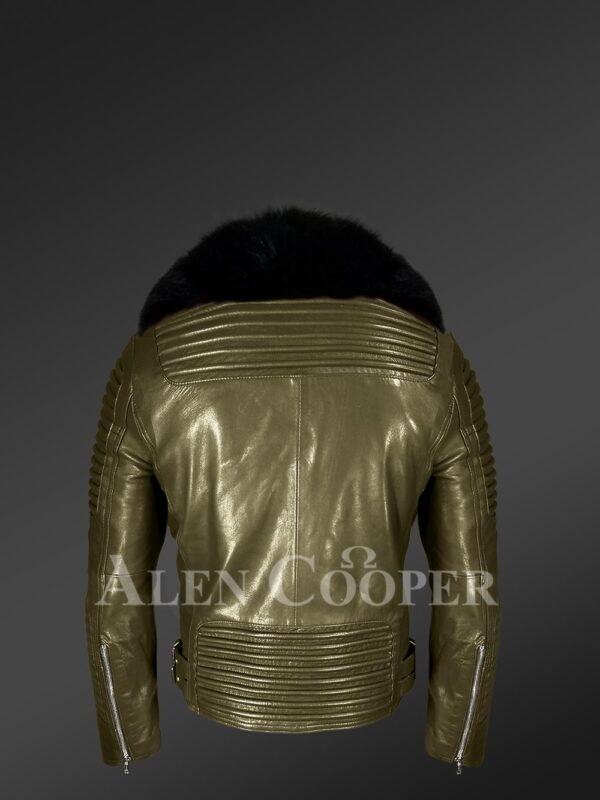 Mens stylish rich olive real lamb skin biker jacket with wide black fur collar new backview