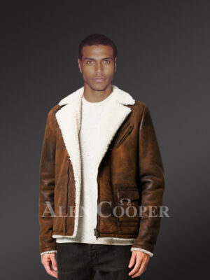 Mens vintage double face shearling super warm solid coat new