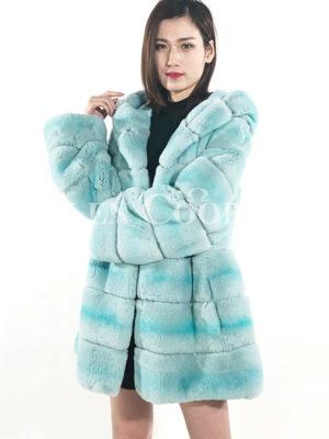 Mid-length Rex Rabbit fur warm winter outerwear for women in sky blue
