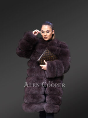 Mid-length-real-fox-fur-paragraph-warm-winter-coat-for-womens-In-purple view