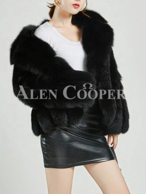 Mid-length super stylish real fur warm winter coat for women's