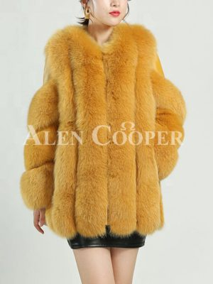Mid-length warm winter water and windproof real fur coat for women