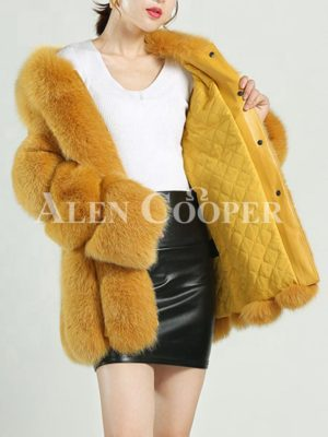 Mid-length warm winter water and windproof real fur coat for women's