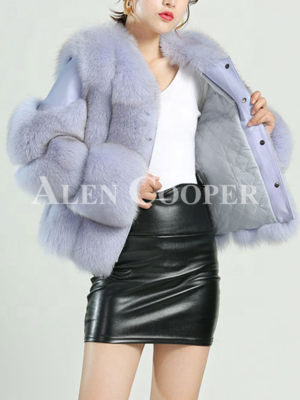 Mid length water and windproof real fox fur coat for women