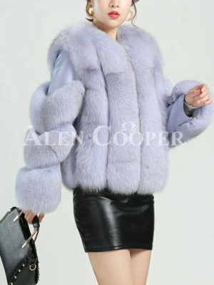 Mid-length water and windproof real fox fur coat for womens