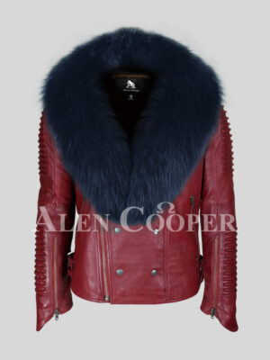 Mid-length wine winter biker jacket with navy fox fur collar for men