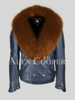Navy real leather solid biker jacket with protective tan fox fur collar