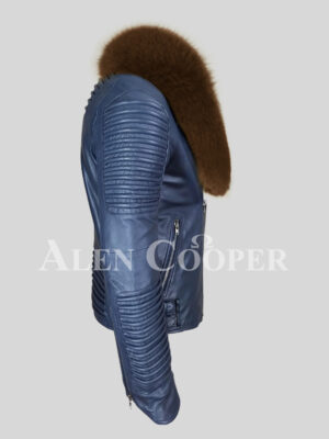 Navy real leather solid biker jacket with protective tan fox fur collar side view