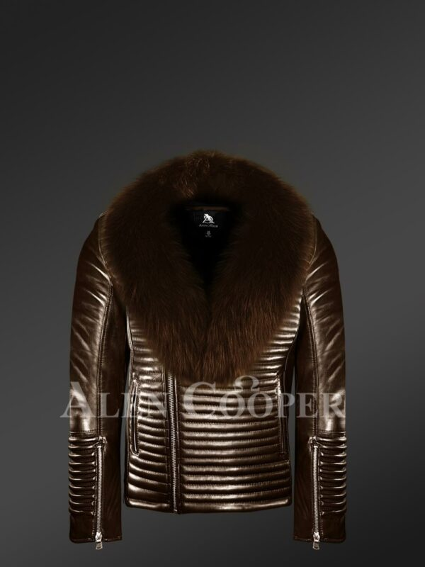 New Men's coffee real leather biker jacket with leather ribs and coffee fur collar