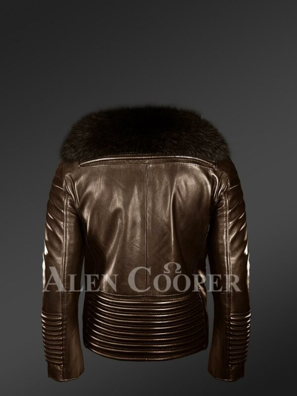 New Men's coffee real leather biker jacket with leather ribs and coffee fur collar back side view