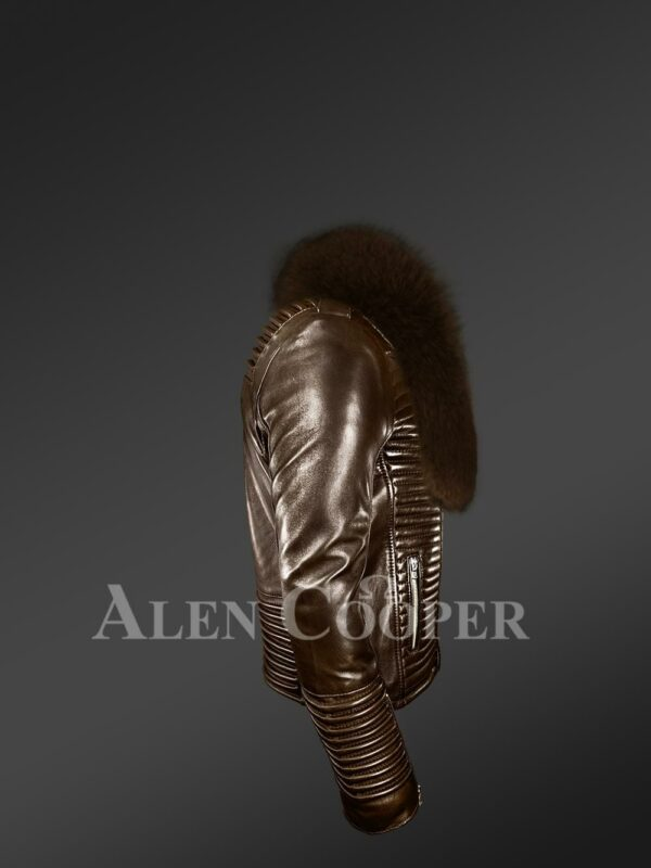 New Men's coffee real leather biker jacket with leather ribs and coffee fur collar side view