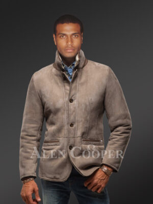 New Men's genuine lamb shearling vintage mid length jacket with tonal leather trim