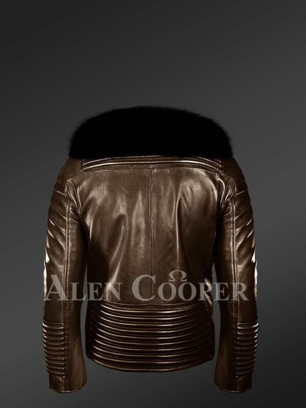 New Men's iconic and comfy leather biker jacket with black real fox fur collar back side view