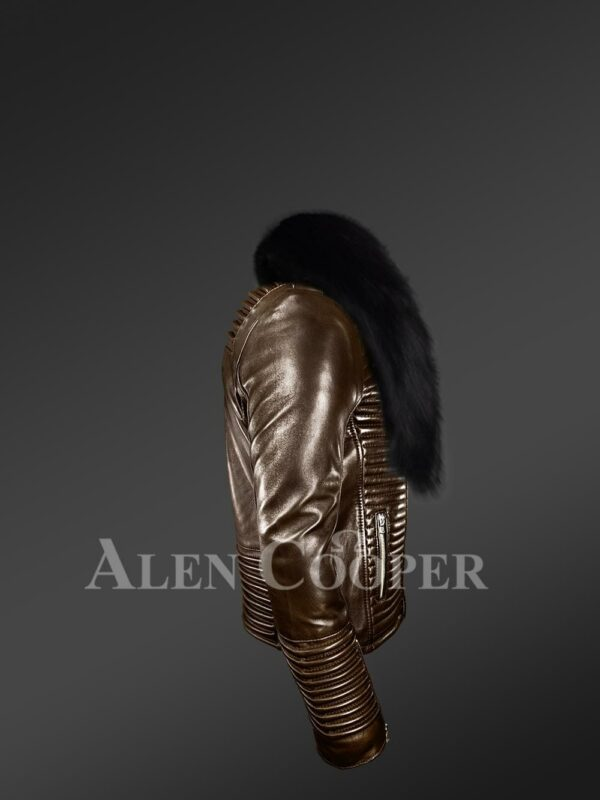 New Men's iconic and comfy leather biker jacket with black real fox fur collar side view