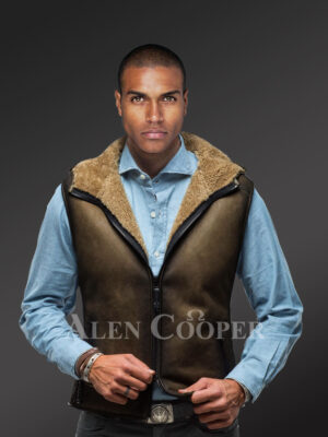 New Men's short and vintage feel double face shearling winter vest