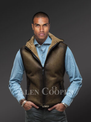 New Men's short and vintage feel double face shearling winter vest Other views