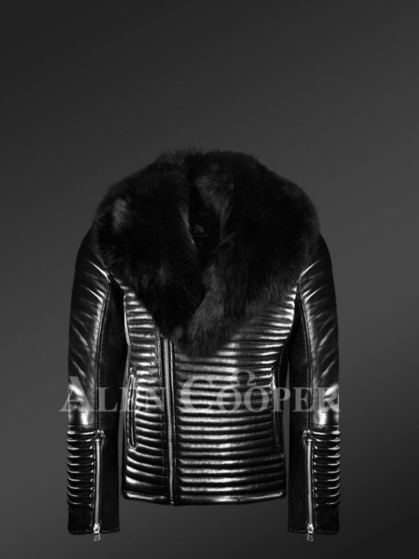 New Men's sturdy black real leather biker jacket with leather ribs and black fox fur collar