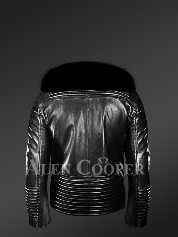 New Men's sturdy black real leather biker jacket with leather ribs and black fox fur collar Back side view