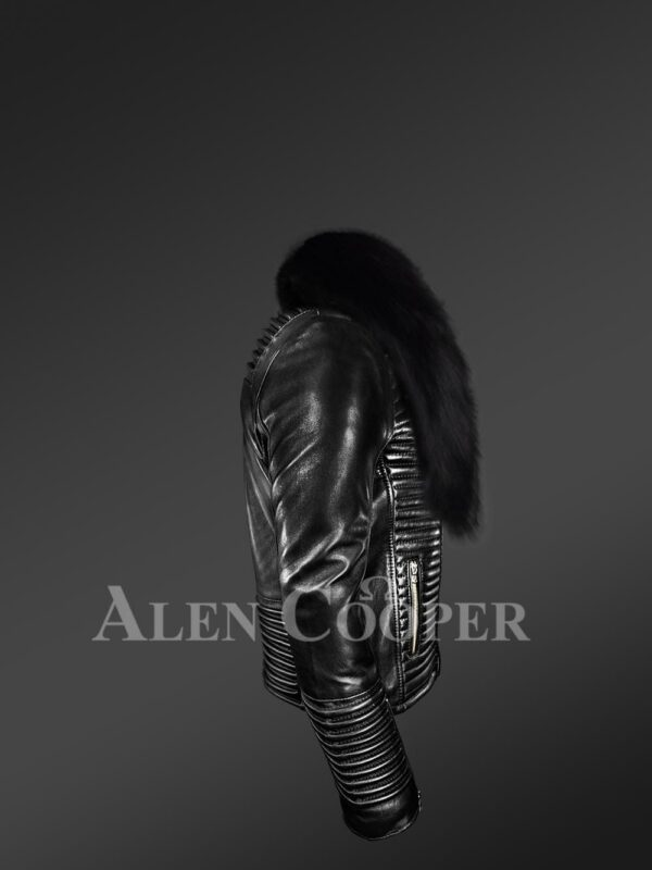New Men's sturdy black real leather biker jacket with leather ribs and black fox fur collar side view