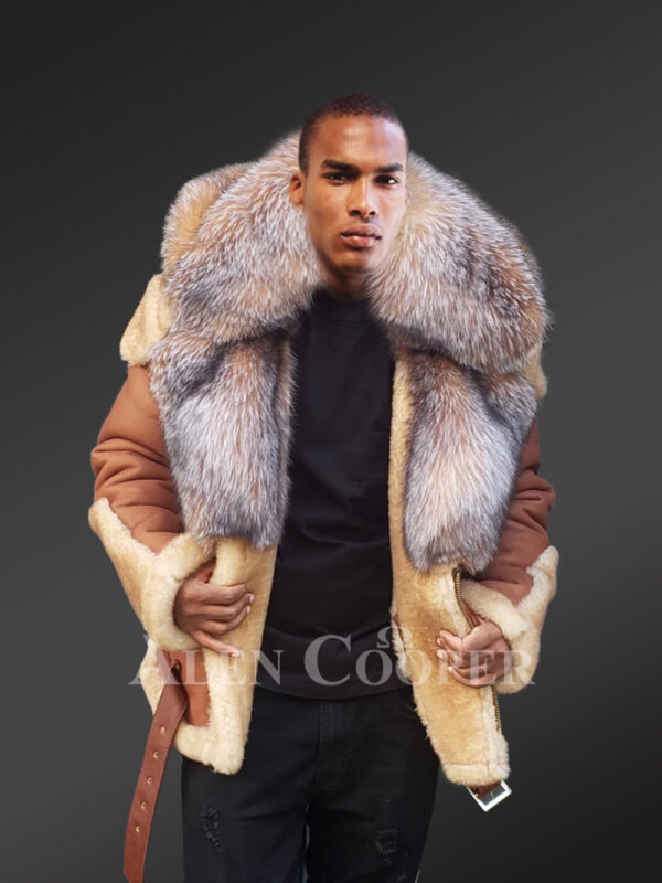 New Men's super stylish double face real fur hooded winter coat views