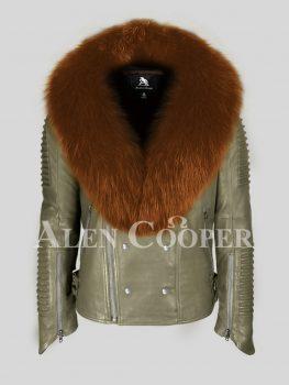 Olive 100% real sheepskin biker jacket with wide tan fox fur collar for men